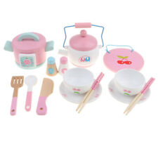 Wooden Cookware Toy Kitchen Cooking Pretend Role Play Children Educational