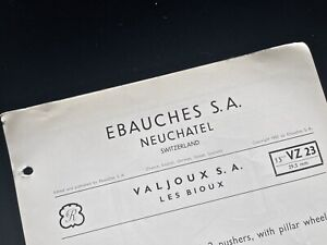 Valjoux 23 chronograph vintage watch original 4-page 1953 Parts and Repair Guide