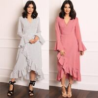 Floral Dress Women V Neck Long Womens Long Sleeve Party Cocktail beach Maxi