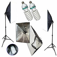 """Studio Lighting Kit 2x Lamp Stands, 20"""" Soft Boxes, & 105w 5500K Cfl = to 800w"""