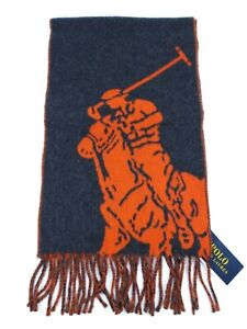 NEW Polo Ralph Lauren Men's Two Sided Gray and Orange Big Pony Scarf