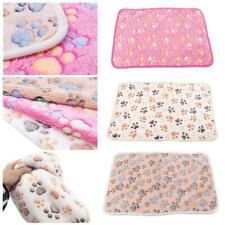 Warm Pet Cat Dog Mat Small Large Paw Print Puppy Fleece Soft Blanket Bed X1C9