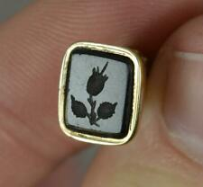 More details for sweet georgian 12ct gold & onyx forget me not fob seal intaglio pendant