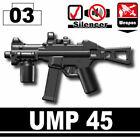 SIDAN Black UMP45 Machine Gun Weapons for Brick Minifigures