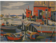 Harbor  Scene  Paint By Number  Refrigerator / Tool  Box  Magnet