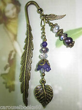 *Beaded Bookmark Purple Flowers Handmade Bronze Designs Gift Idea*