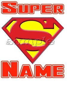 IRON on TRANSFER SMALL PERSONALISED superman super logo 7x8cm