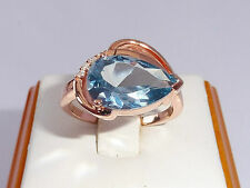 Ladies 18 Ct Rose Gold Sterling 925 Silver 4 Ct Blue Topaz & Sapphire Ring
