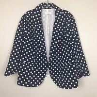 Dress Barn Blazer Ruched 3/4 Sleeve Women's Size 3X Navy Polka Dot Open Front