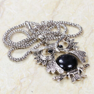 "Black Onyx Owl 925 Silver Plated Necklace of 22"" ST-39355"