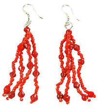 LADIES RED BEADED LAYERED BOLD TASSELLED AZTEC INSPIRED RETRO EARRINGS (ZX7)