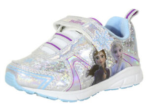 Disney Toddler Girl's Frozen-II Silver/Blue Light Up Sneakers Shoes Sz: 7T