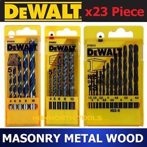 DeWALT Drill Bit Set Multi Purpose Metal Masonry Wood x23 Pcs HSS Steel Carbide