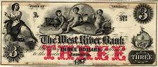 1800's $3 THE WEST RIVER BANK, JAMAICA VERMONT, OBSOLETE BROKEN BANK NOTE