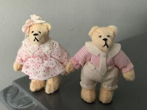 "Artist Miniature Dollhouse Jtd Teddy Bears 2"" Duo Lot 2 Boy & Girl Paulette Svec"