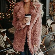 Women Winter Long Warm Pocket Fluffy Coat Fleece Fur Jacket Outerwear Hoodies UK