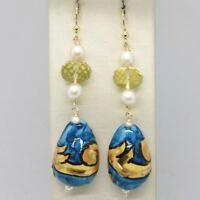 Ohrringe aus Gold Gelb 750 18k Perlen und einer Tropf Handbemalt - Made in Italy