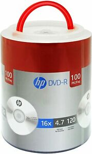 100 HP Blank 16X DVD DVD-R Branded Logo 4.7GB Media Disc Spindle with Handle