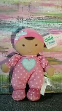 NWT CARTER'S MY FIRST DOLL BABY PINK HEARTS RATTLE BLUE AQUA CRINKLE BRUNETTE