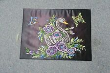 "VINTAGE COMPLETED NEEDLEWORK EMBROIDERY SWAN BUTTERFLY ART DECO 12"" X 16"""