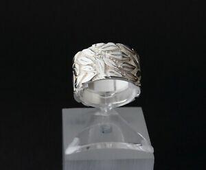 Breiter Silberring für Damen 925er Sterling Silber Bandring Blatt Blättermuster