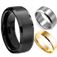 Unisex Size17-22 Men Women Stainless Steel Ring Band Titanium Silver Black E5Y