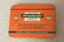 1950s Johnson FERRANIACOLOR Processing Outfit Part 1 Metal Tin. Photographic