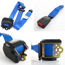Blue 3 Point Automatic Car Front Seat Belt Buckle Kit Retractable Safety Straps