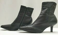 BARRATTS ladies womens black leather white trim ankle boots Size UK 8 EU 41