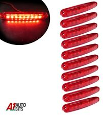 Ten Red Super Bright 9 Diodes Slim Line Tail Marker Lamps Car Van Boat 100mm