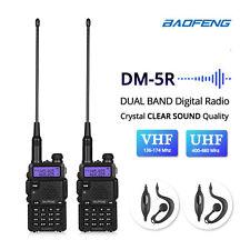 2x Baofeng DM-5R Digital Dual Band DMR V/UHF Two-way Radio Walkie Talkie 2000mAh