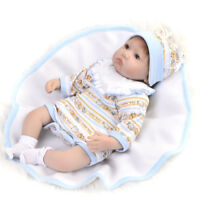 5pcs Baby Dolls Clothes Rompers Bib Hat Socks for 17-18inch Reborn Girl Doll