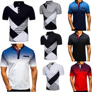 Summer Men Short Sleeve Shirts Blouse Muscle Slim T-Shirt Golf Casual Tee Tops