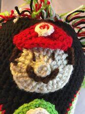RARE Nintendo Super Mario Bros Snow Cap Hand Knit Beanie Hat - Luigi, Toad OOAK