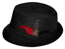 Fedora Trilby Hats - Adult Hats - Black w/ Feathers  ( FedHat92 Z)