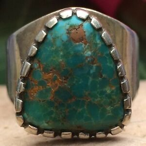 GORGEOUS NATIVE AMERICAN NAVAJO ROYSTON TURQUOISE STERLING SILVER RING 7.5 WOW