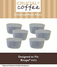 6 Replacements Krups Style F472 Duo Charcoal Water Filters