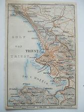 stampa antica old print  MAPPA TRIESTE PROSECCO GRIGNANO SERVOLA  MUGGIA 1911