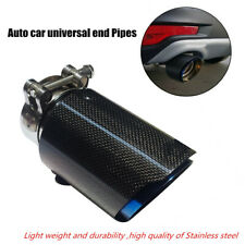 Universal Blue Steel End Carbon Fiber Exhaust Tip Pipe 63mm Inlet -101mm Outlet
