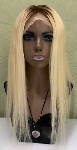 Lace Front Real Human Hair Wig Yellow Blonde Ombré Straight 20 inches 180%