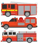 Fire Engine Truck Fire Rescue Childrens Nursery Wall Stickers