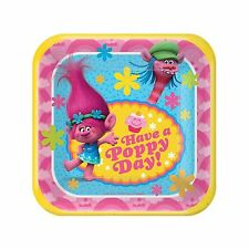 """American Greetings Trolls 7"""" Square Plate (8 Count)"""