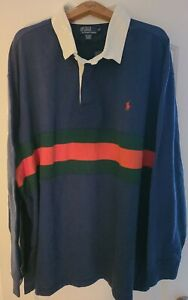"""Polo Ralph Lauren Men's 5XB Rugby pit 34""""  length 34"""" Blue w/Green and Orange..."""