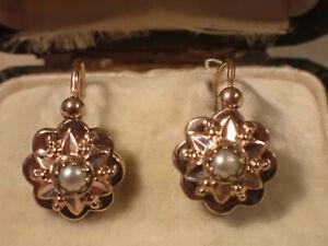 Boucles d'oreilles Dormeuses Anciennes  en  plaqué or rose et perle.
