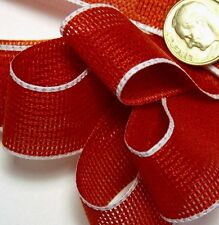 """3-YDs,7/8"""" Loose Weave,Bright RED Craft Ribbon,White edge.Light-weight"""