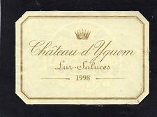 SAUTERNES 1ER GCC ETIQUETTE CHATEAU D' YQUEM 1998 RARE    §22/11/16§