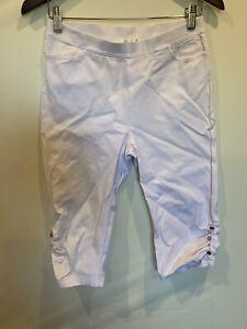 Filo 3/4 Pants - Diamonte Feature At Bottom - Elastic Waist - Size 10 - White