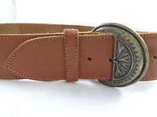 """Vintage HERO Wide Womens Leather Belt 2.25"""" x 35"""" Brown Boho Peasant"""
