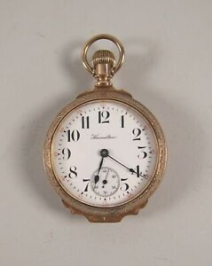 Hamilton Grade 936 Pocket Watch 18s 17 Jewel with Fancy Fahys Montauk Gold Case