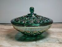 Vntg Indiana Glass Lidded Candy Dish Emerald Grn/Iridescents Perfect Condition